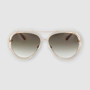 NIB CHLOE OVERSIZED GOLD HAVANA AVIATOR SUNGLASSES